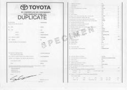 Certificat de conformité gratuit Toyota