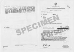 Certificat de conformité gratuit Porsche
